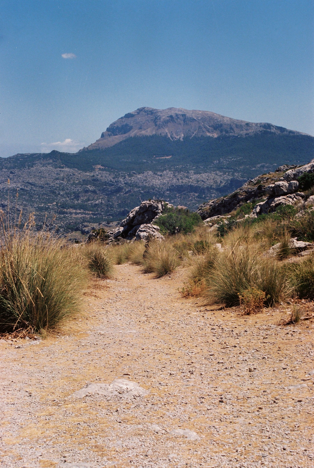 Highest mountain Puig Major in the Serra de Tramuntana mountain range on the island of Mallorca
