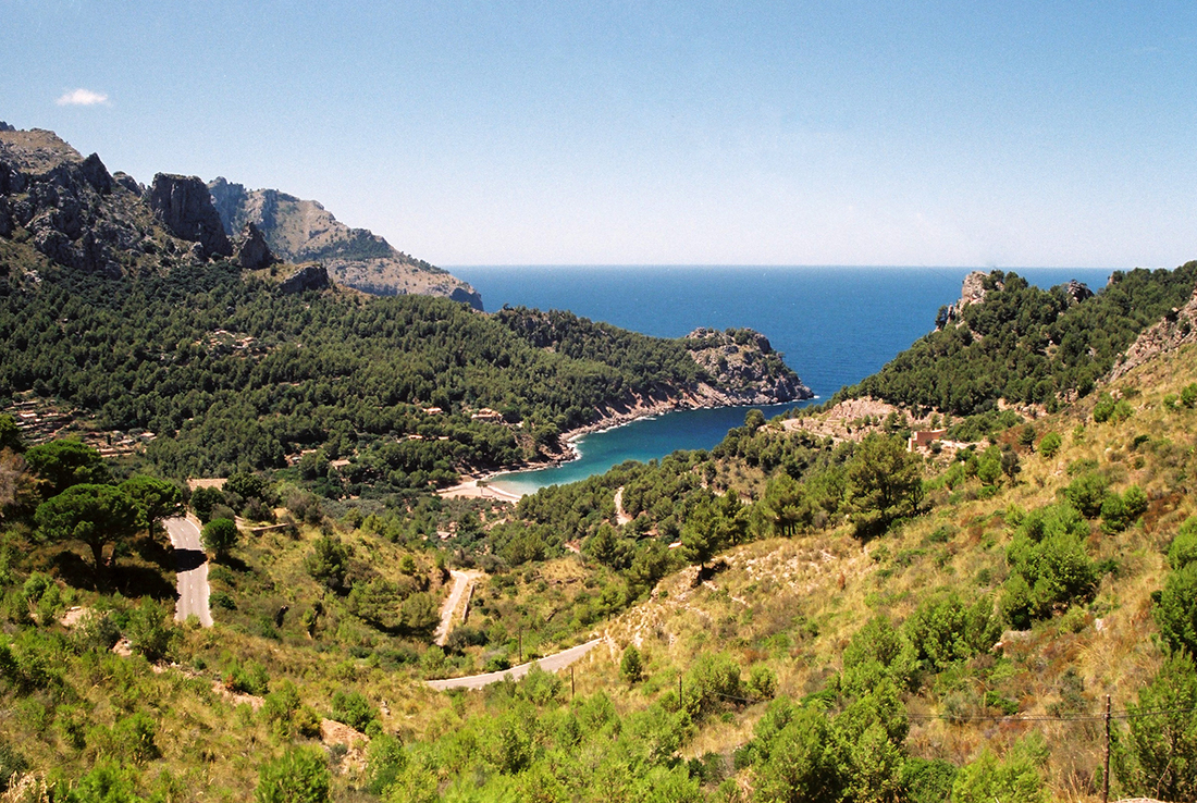 Cala Tuent in the Serra de Tramuntana mountain range on the island of Mallorca overlooking the Mediterranean Sea