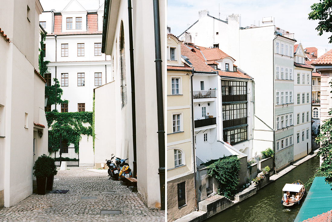 White buildings and canal in Prague