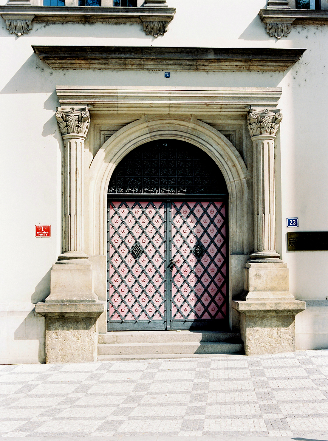 Pink church door in Prague