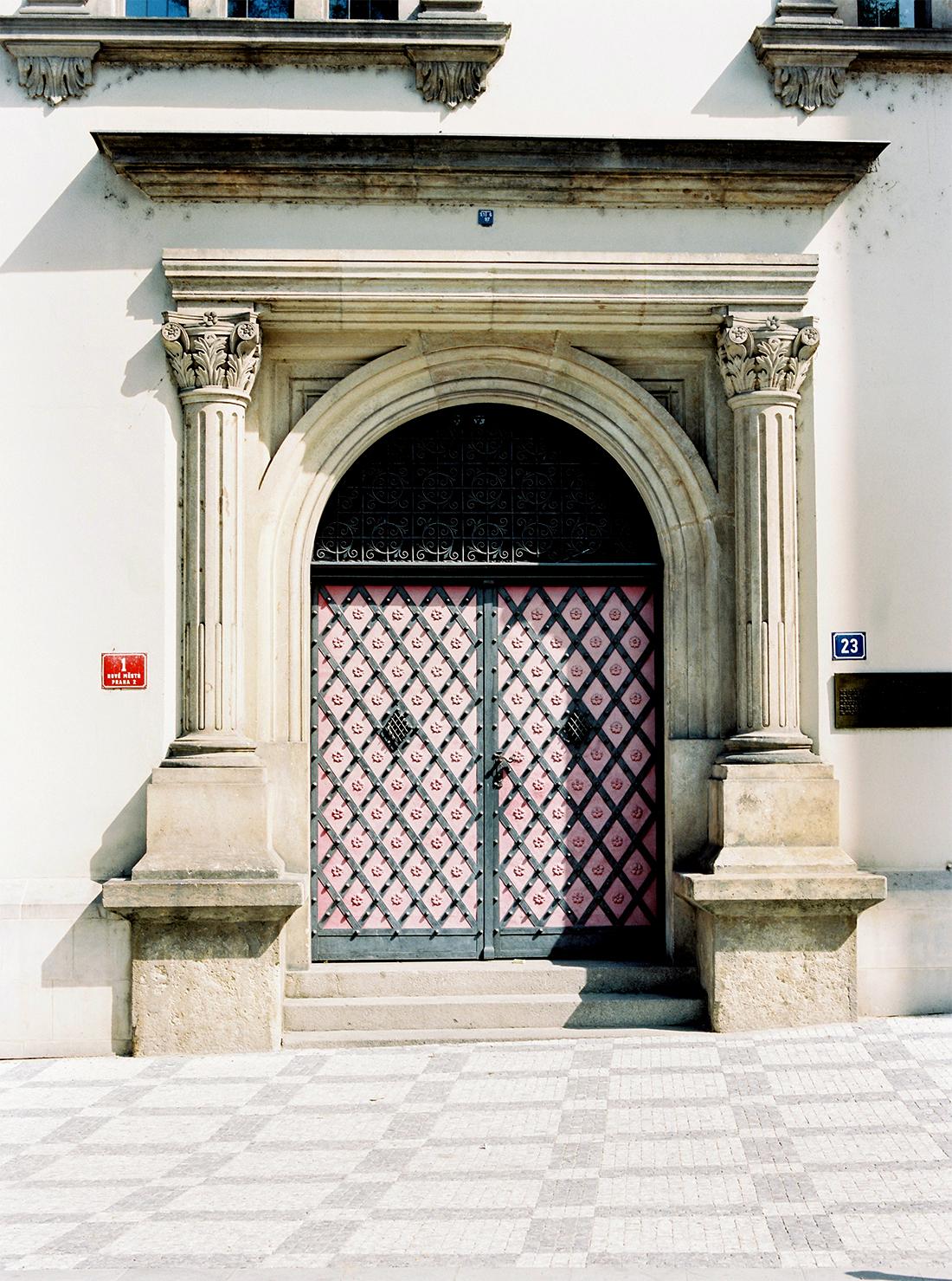 Pink church door in Prague