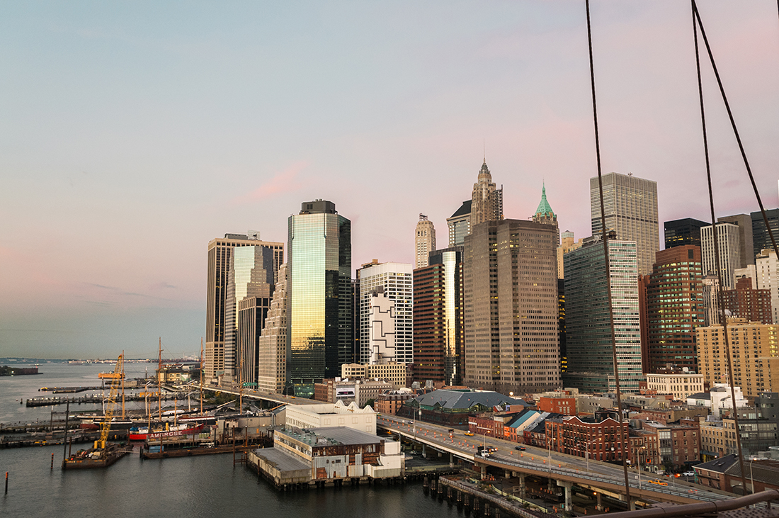 financial district in new york city at sunrise
